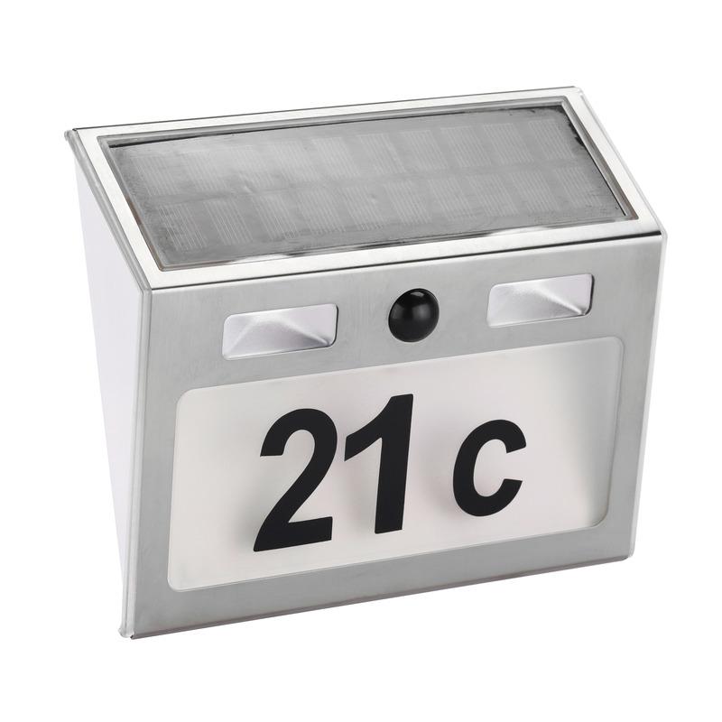 Solar huisnummer plaat met licht en bewegingsmelder - Huisnummers