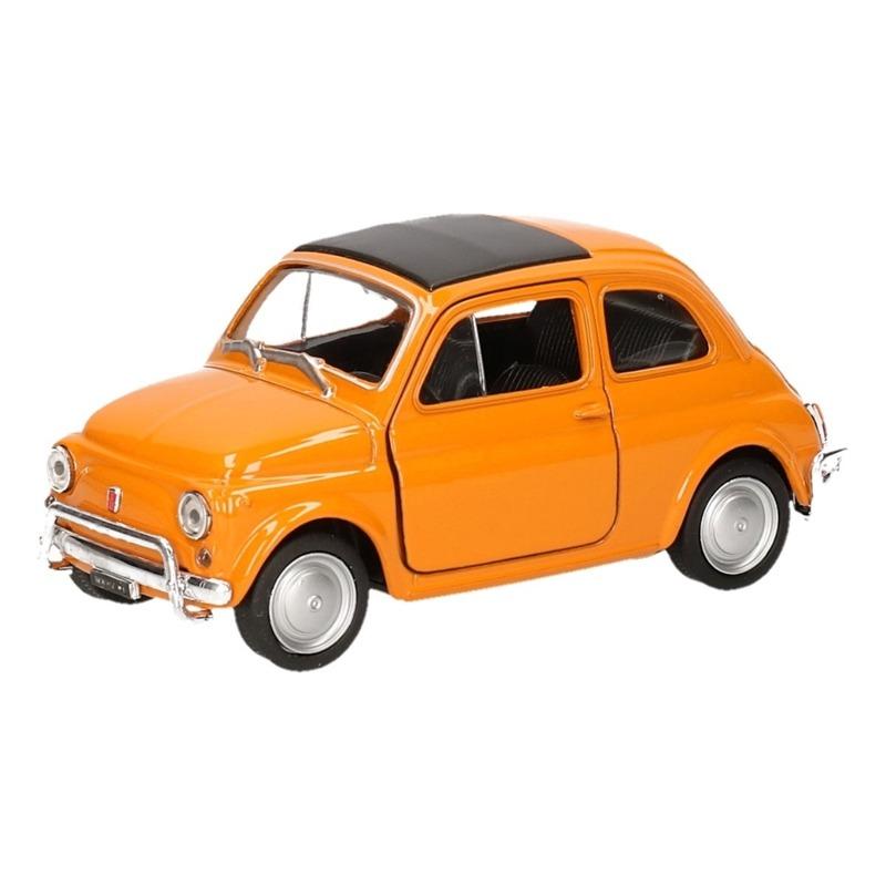 Speelgoed Fiat 500 classic oranje Welly autootje 1:36