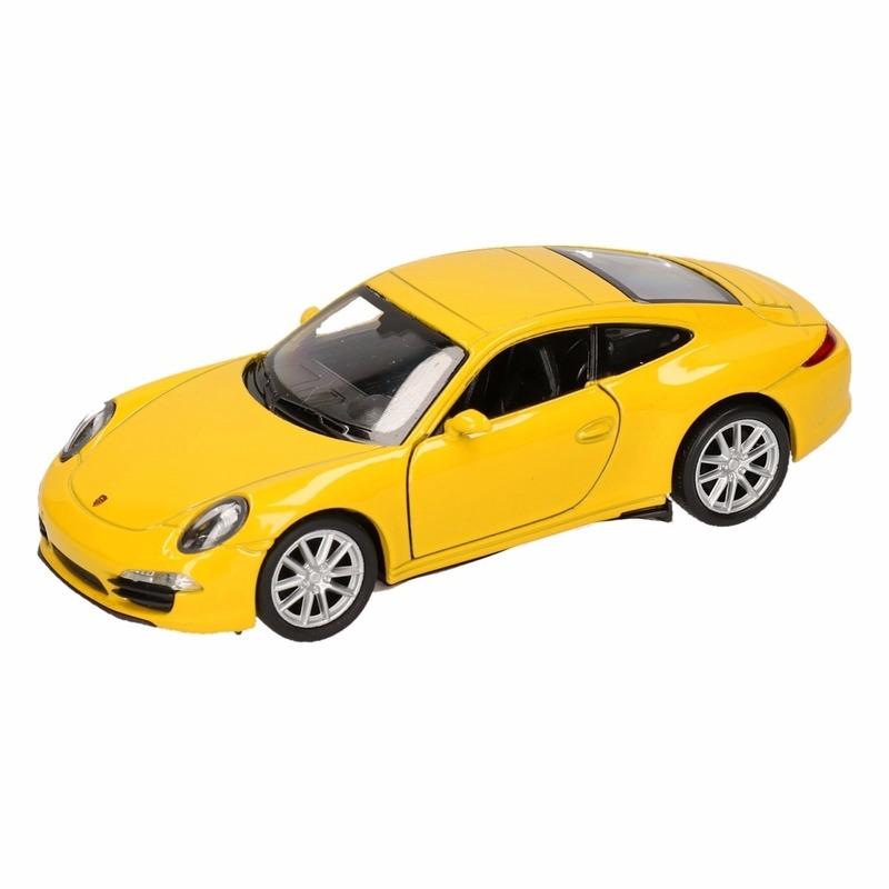 Speelgoed Porsche 911 Carrera S geel Welly autootje 1:36