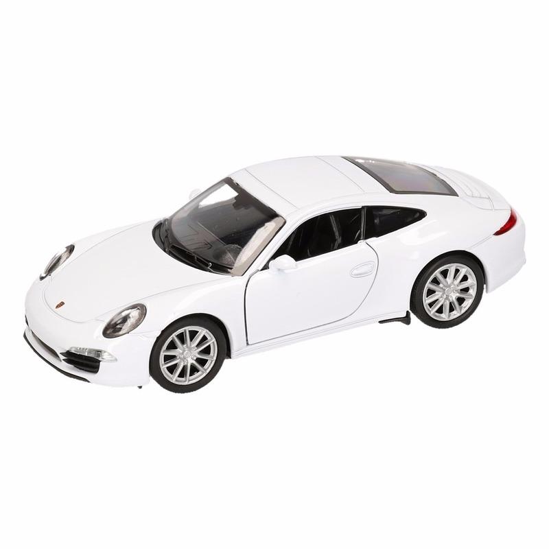 Speelgoed Porsche 911 Carrera S wit Welly autootje 1:36