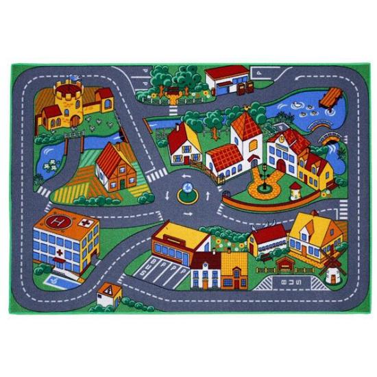 Speelkleden dorp met wegen 95 x 133 cm Multi