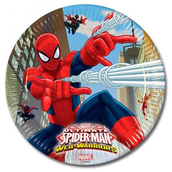 Spiderman kinderfeest bordjes 16 stuks -
