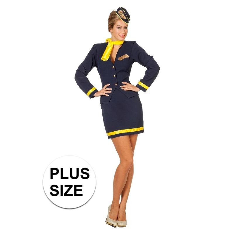 Stewardess uniform grote maat 46 (3XL) Multi