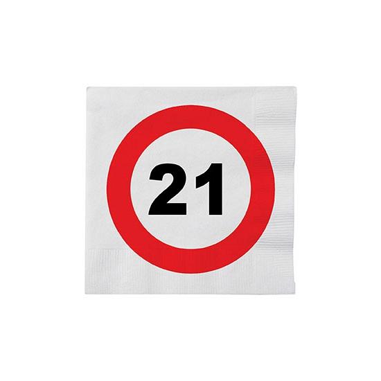 Stopbord servetjes 21 jaar feestversiering 32 stuks -