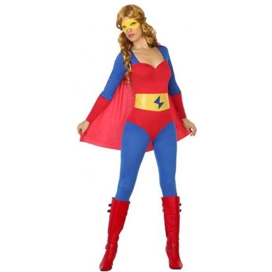 Superheldin kostuum blauw/rood voor dames XL (42-44) Multi