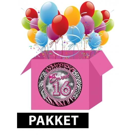 Sweet 16 versiering en feestartikelen pakket Multi