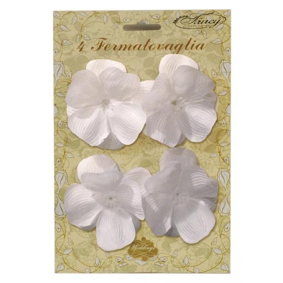 Tafelkleed klemmen witte bloem 4 stuks Wit