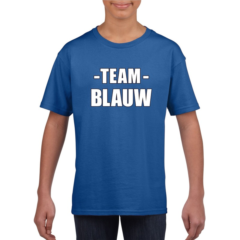 Team blauw shirt jongens en meisjes voor evenement M (134-140) Blauw