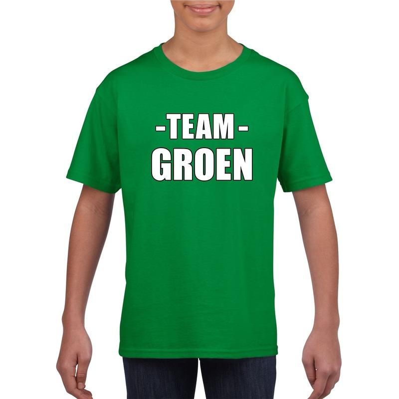 Team groen shirt jongens en meisjes voor evenement M (134-140) Groen