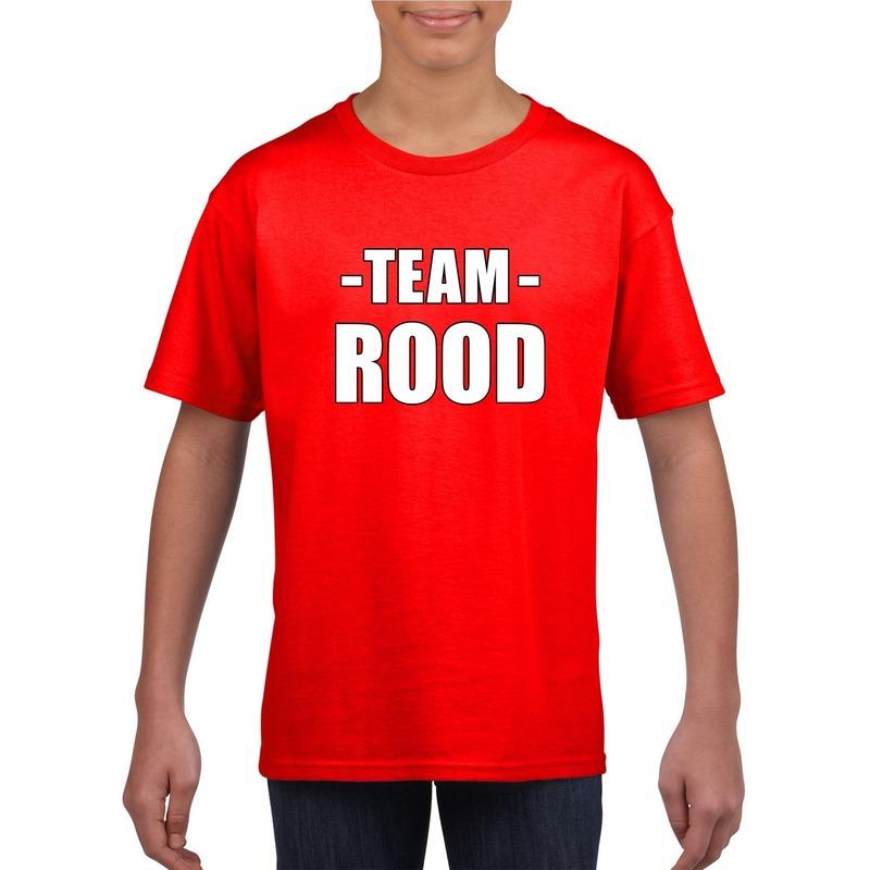 Team rood shirt jongens en meisjes voor evenement M (134-140) Rood