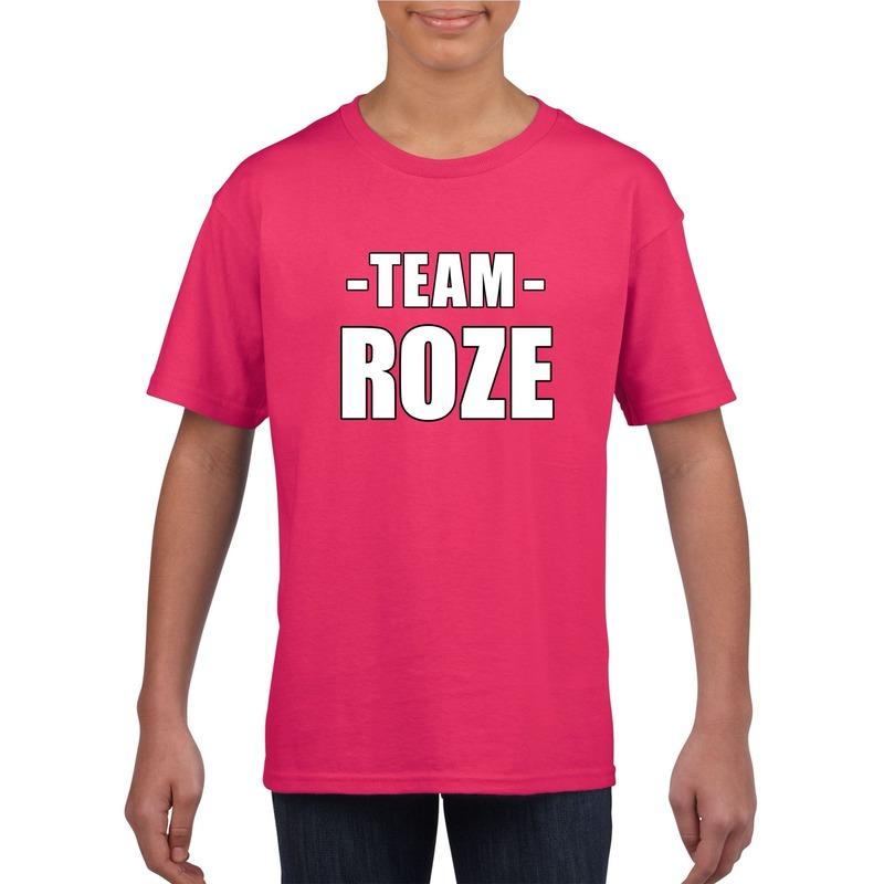 Team roze shirt jongens en meisjes voor evenement M (134-140) Roze