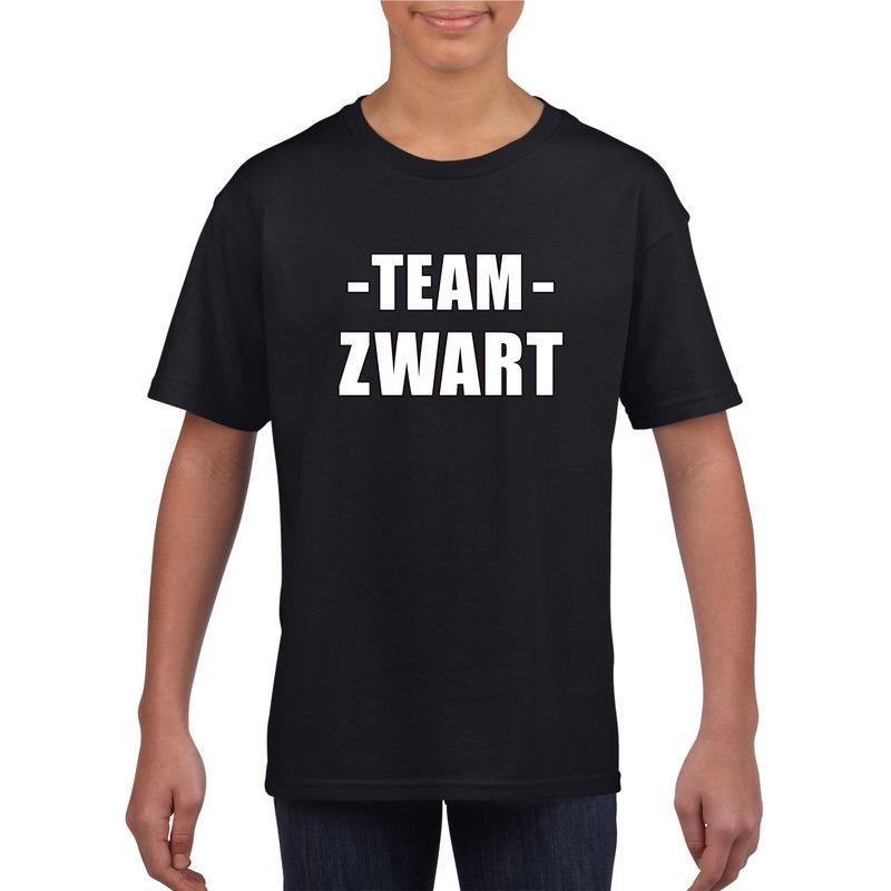 Team zwart shirt jongens en meisjes voor evenement M (134-140) Zwart