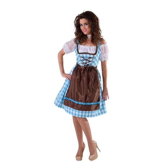 Tiroler jurk blauw met bruin schort 40 (M) Multi