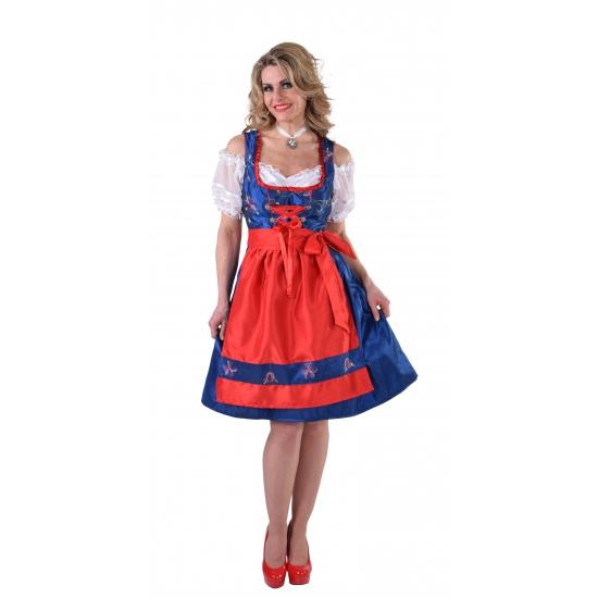Tiroler jurk blauw met rood schort 46 (2XL) Multi