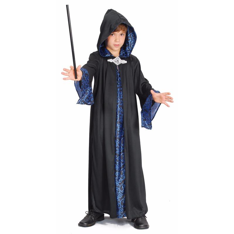 Tovenaar cape blauw/zwart kinderen 116 - 4-6 jr Multi