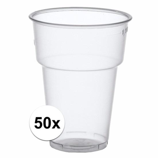 Transparante bierglazen plastic 50 stuks