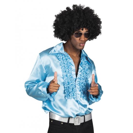 Turquoise rouche overhemd voor heren L Turquoise
