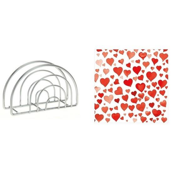 Valentijnsdag diner servethouder met rode hartjes servetten Rood