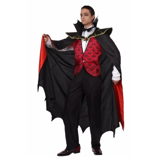 Vampier kostuum met mantel heren 50 (M) Multi