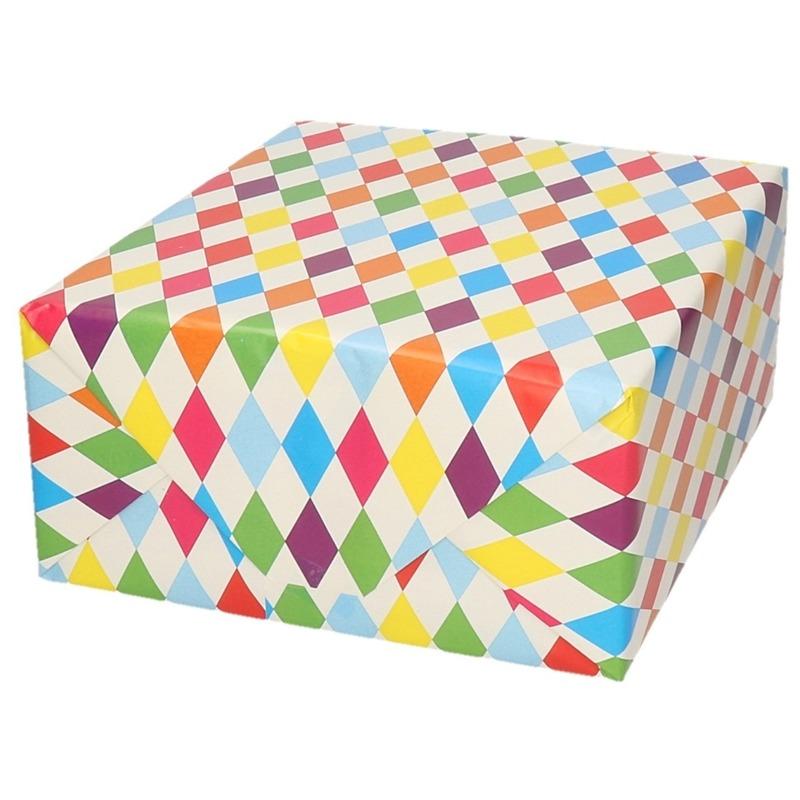 Verjaardagscadeau inpakpapier ruitjes 70 x 200 cm