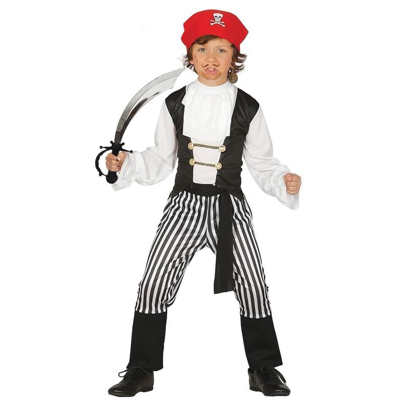 Verkleed piraten outfit voor kinderen maat 128-134 met zwaard One size Multi