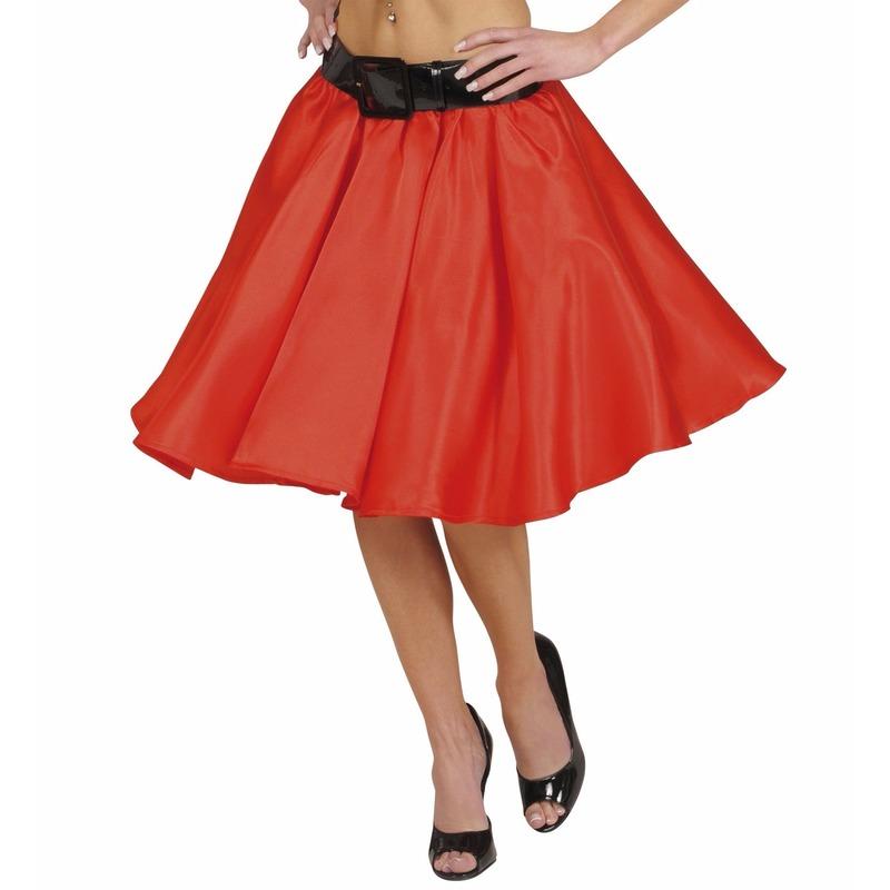 Verkleed Rock and Roll rok rood voor dames XL Rood