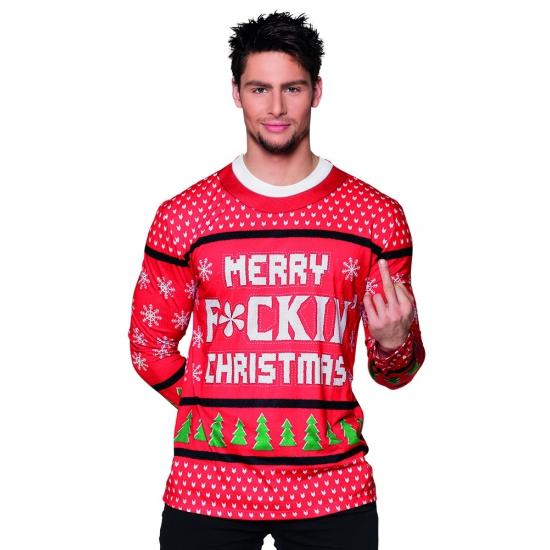 Verkleed t-shirt kerst tekst heren L Rood