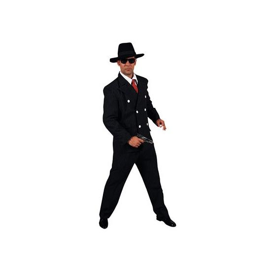 Verkleedkleding gangster heren 52-54 (M) Zwart