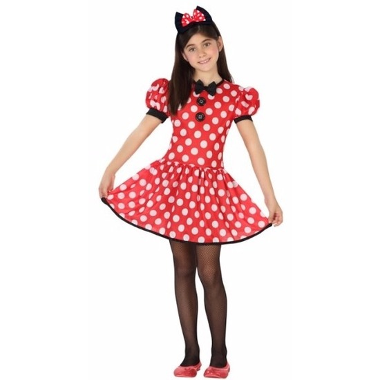 Verkleedkleding muizen meisje rood 140 (10-12 jaar) Rood