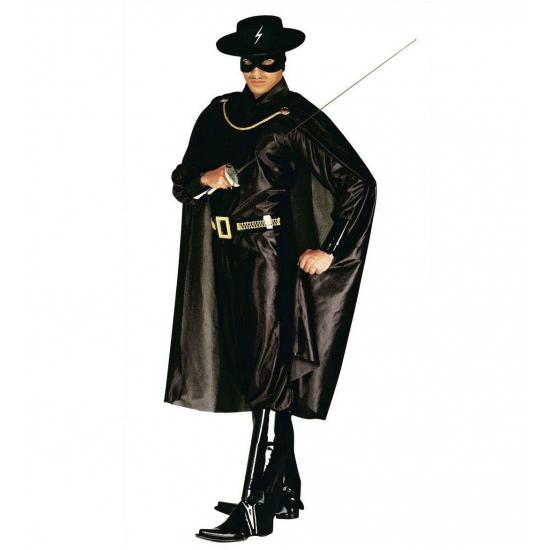 Verkleedkleding Zorro kostuum heren 48 (S) Zwart