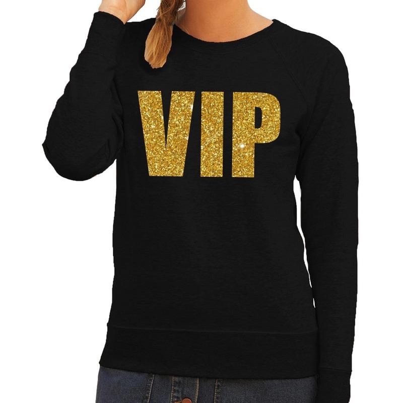 Hooded sweater zwart met gouden vip bedrukking voor dames