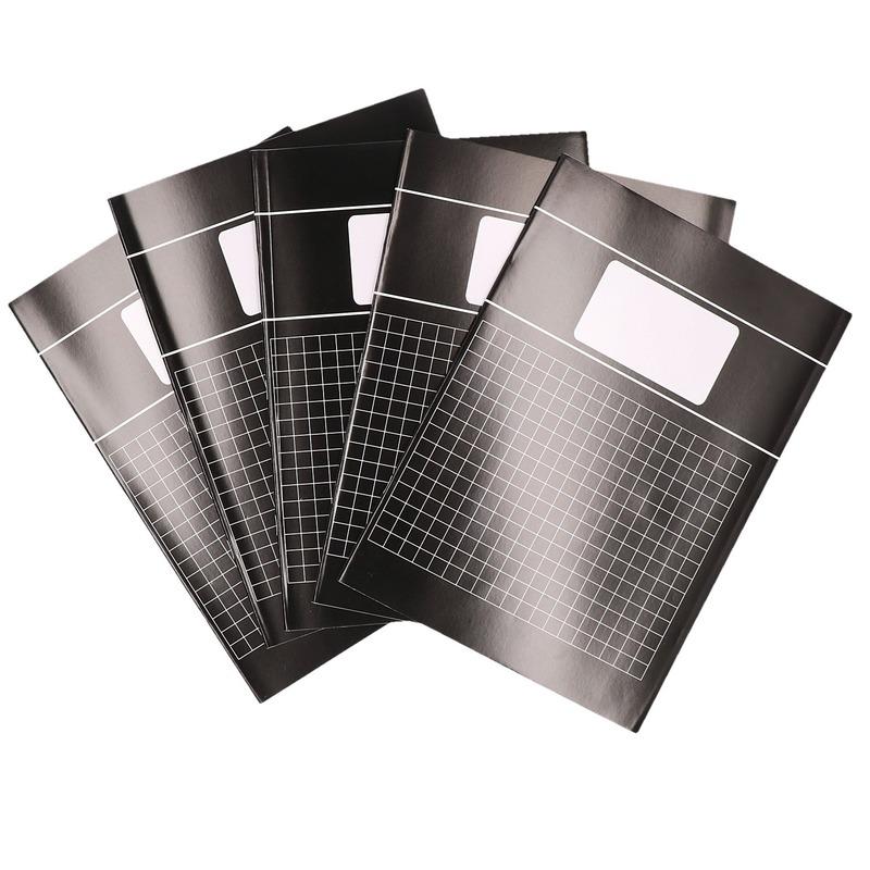 Voordeelpakket 5x A4 ruitjes schriften 10 mm Zwart