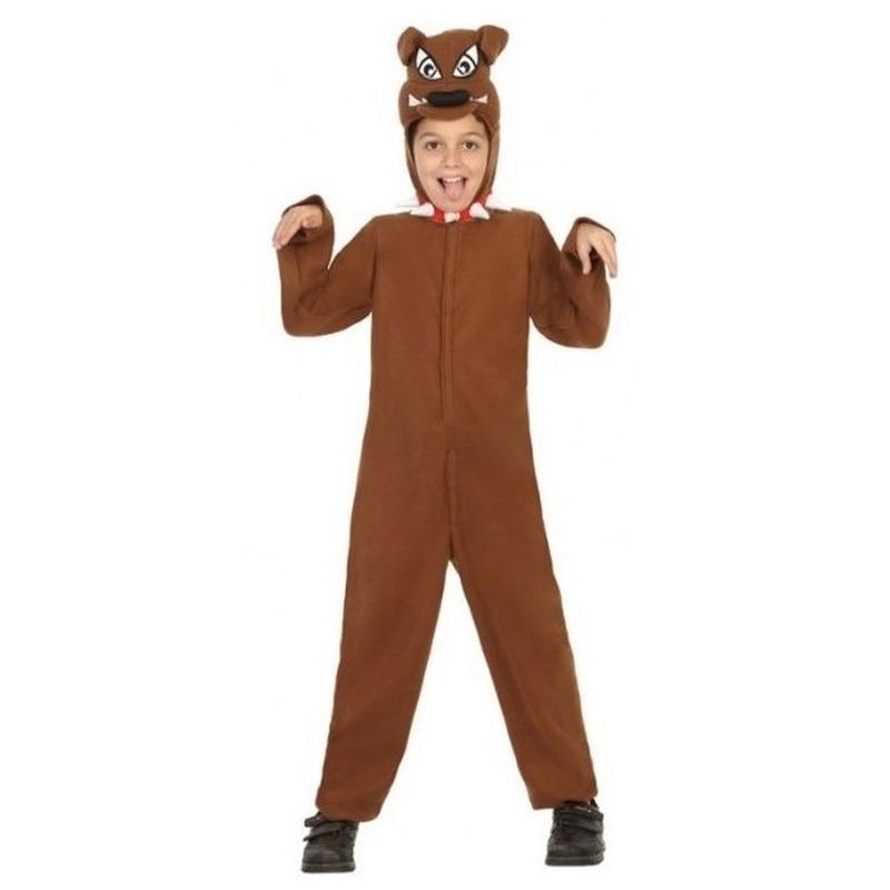 Voordelig hond/honden verkleedpak voor kinderen 140 (10-12 jaar) Bruin