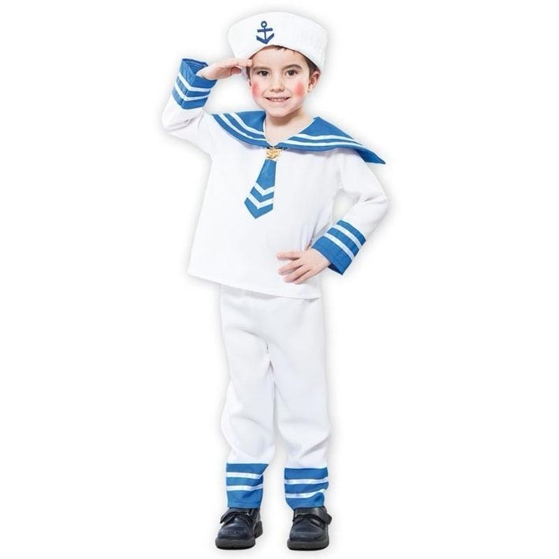 Voordelig matrozen pakje voor een kind One size Wit
