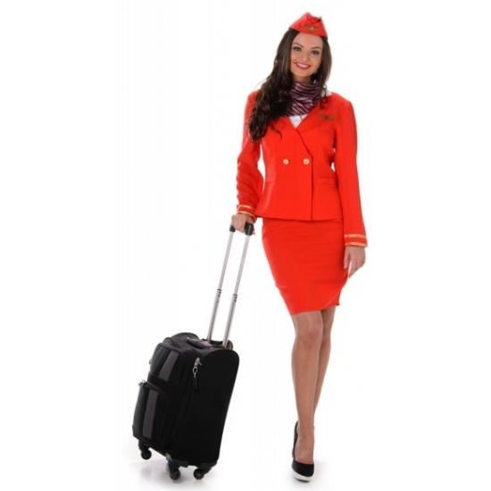 Voordelige stewardessen kostuum rood 40 (L) Rood