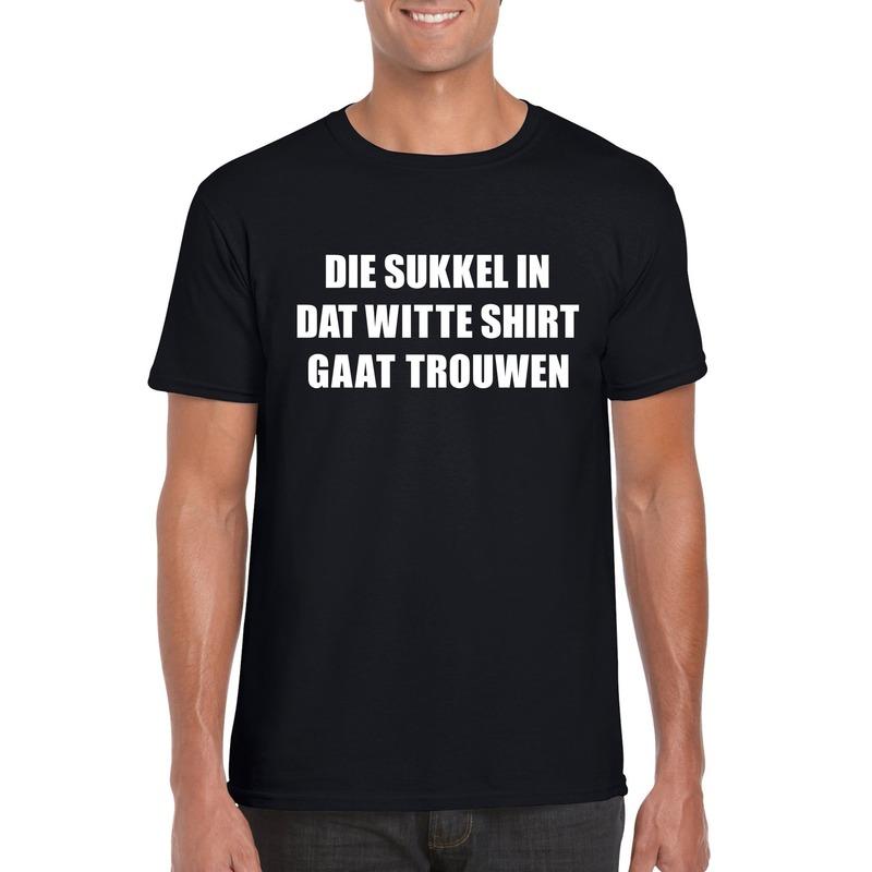 Vrijgezellen t-shirt vrienden/ Die sukkel gaat trouwen zwart heren S Zwart