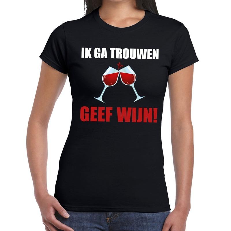 Vrijgezellenfeest shirt Ik ga trouwen geef wijn zwart voor dames