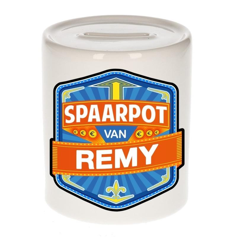 Vrolijke kinder spaarpot voor Remy