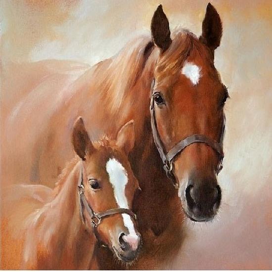 Wegwerp servetten paard met veulen 3-laags 20 stuks Multi