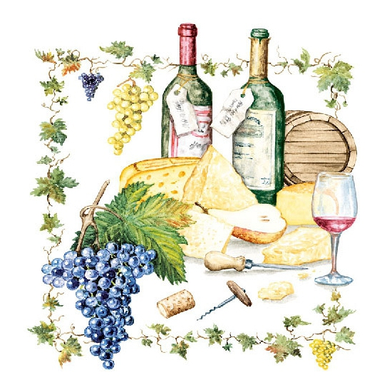 Wijn/Kaas servetjes 60 stuks Multi