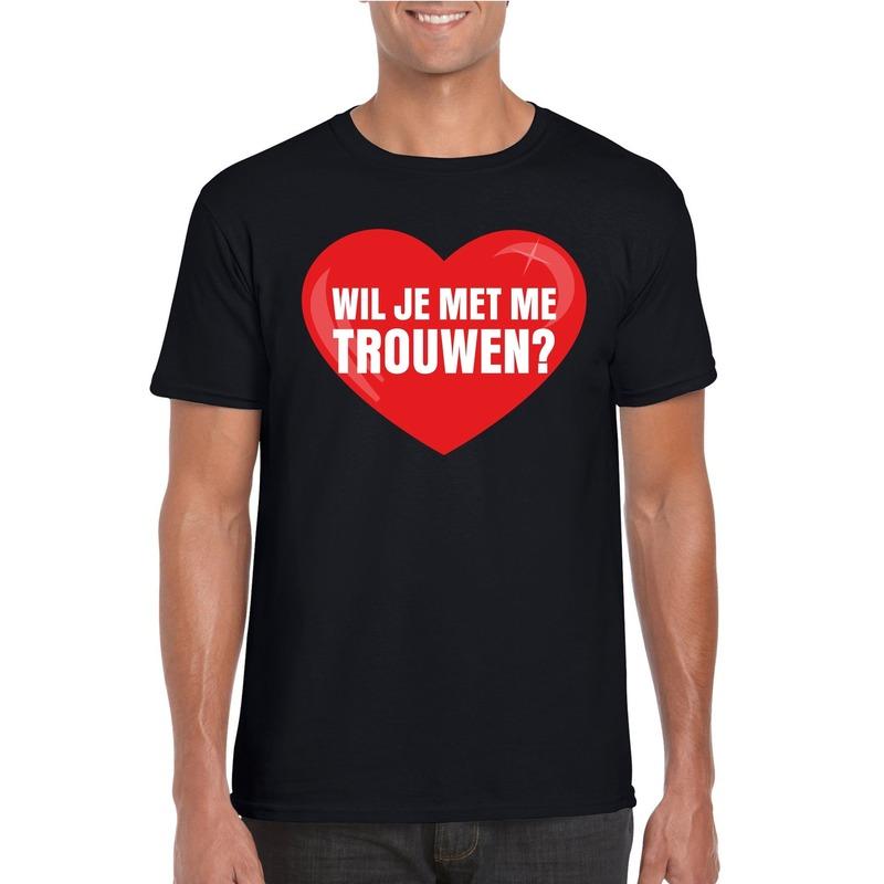 Wil je met me trouwen shirt voor huwelijksaanzoek zwart heren