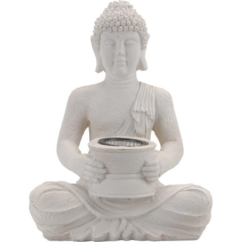 Wit Boeddha beeld met solar verlichting 31 cm - Tuinbeelden