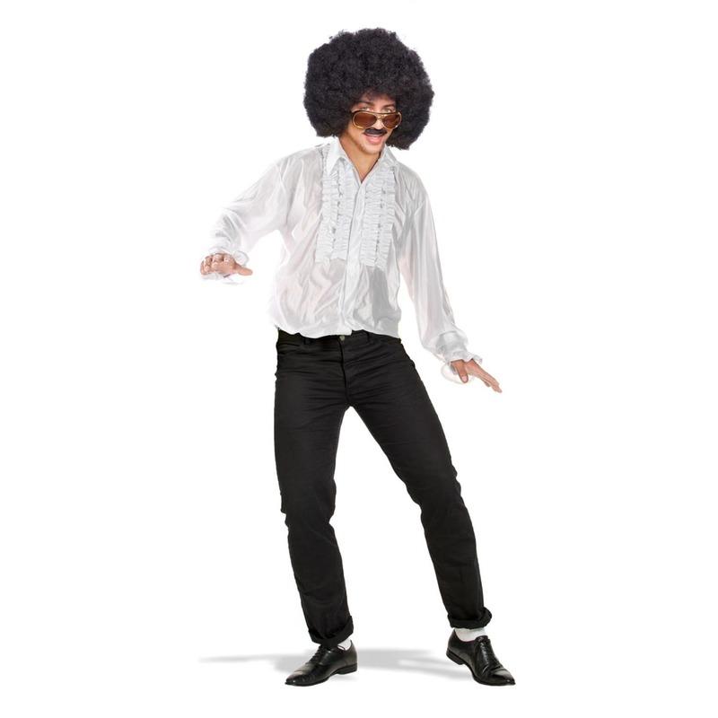 Wit disco overhemd/rouche blouse voor heren M/L (50-52) Wit