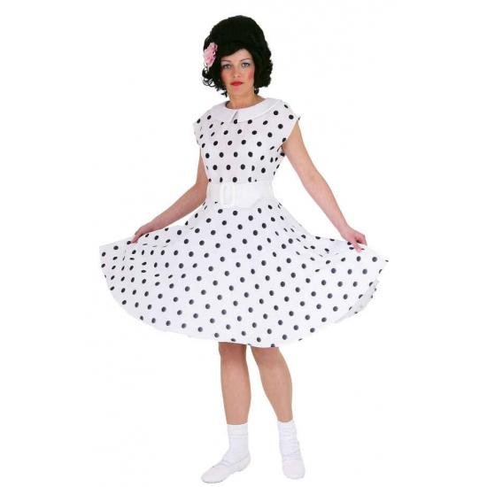 Wit fifties verkleed jurkje met zwarte stippen 38 Wit