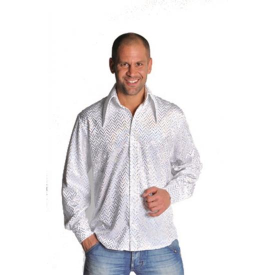 Wit glitter overhemd heren 56-58 (L) Wit