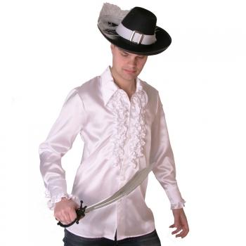Wit heren piraten overhemd Zwart