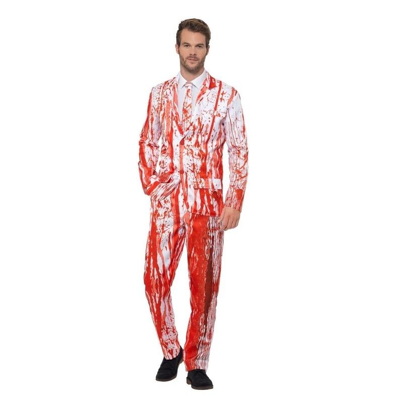 Wit herenpak met bloed print 56-58 (XL) Wit
