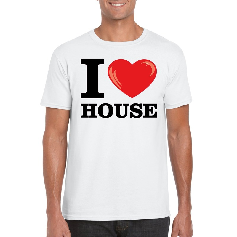 Wit I love house t-shirt heren L Wit