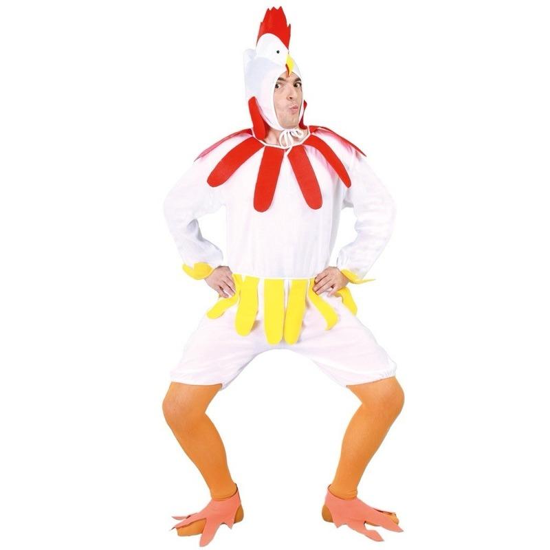 Wit kippen/hanen verkleed pak voor volwassenen L (52-54) Wit