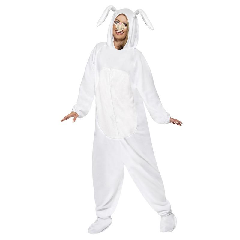 Wit konijn/haas jumpsuit voor volwassenen 52-54 (L) Wit